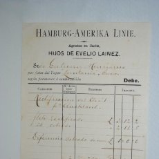 Facturas antiguas: EVELIO LAINEZ , AGENTES DE SEGUROS MARITIMOS 1908. Lote 295335248