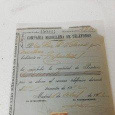 Facturas antiguas: DOCUMENTO COMPAÑÍA MADRILEÑA DE TELÉFONOS. 1.912.. Lote 295428888