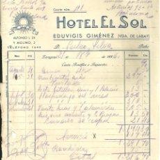 Facturas antiguas: 3748.-ZARAGOZA-HOTEL EL SOL ALBARAN FACTURA AÑO 1936. Lote 295486253