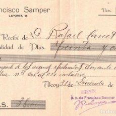 Facturas antiguas: TRANSPORTES POR FERROCARRILES Y ACARREOS DE FRANCISCO SAMPER - ALCOY - 1925 - RECIBÍ. Lote 295512318