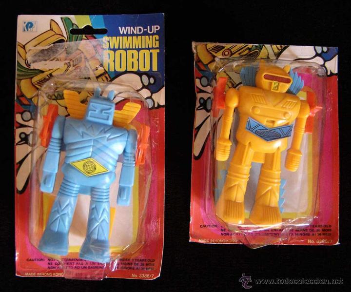 Lote dos antiguos blisters swimming robot tipo - Vendido en