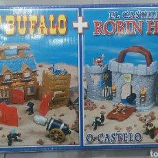 Figuras de acción: FORT BUFALO + EL CASTILLO DE ROBIN HOOD. NUEVO. FALOMIR. 2 MALETINES.. Lote 75876693