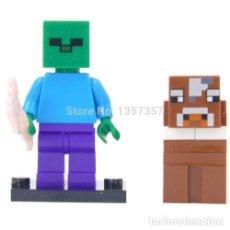 Figuras de acción: MINECRAFT ZOMBIE Y VACA LEGO COMPATIBLE LOTE DE 2 MINIFIGURAS. Lote 121458911