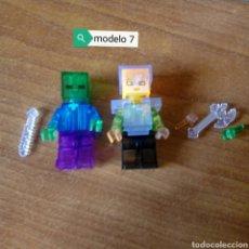 Figuras de acción: MINECRAFT TRANSPARENTE ZOMBIE Y STEVE LEGO COMPATIBLE LOTE DE 2 MINIFIGURAS. Lote 121460647