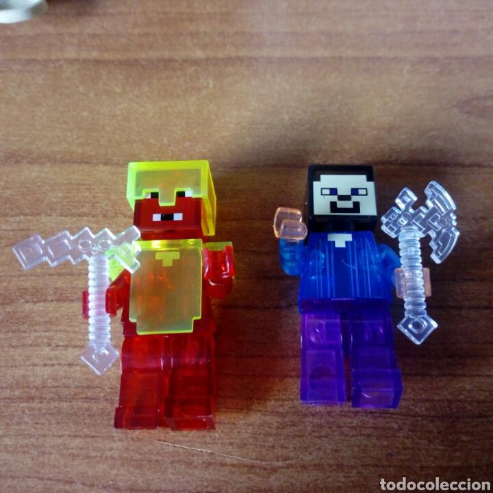 MINECRAFT STEVE Y RED TRANSPARENTE LEGO COMPATIBLE LOTE DE 2 MINIFIGURAS Juguetes