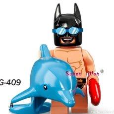Figuras de acción: MINIFIGURA COMPATIBLE CON LEGO BATMAN CON FLOTADOR DELFIN NUEVO EN BOLSA SELLADA EDICIÓN VERANO. Lote 186363778
