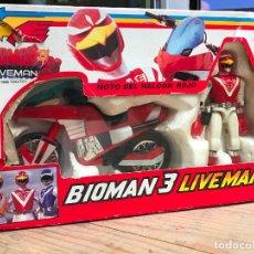 Figuras de acción: MOTOS: BIOMAN 3 LIVEMAN MOTO DEL HALCON ROJO, DE BANDAI, EN CAJA - COMPLETA. Lote 187225497