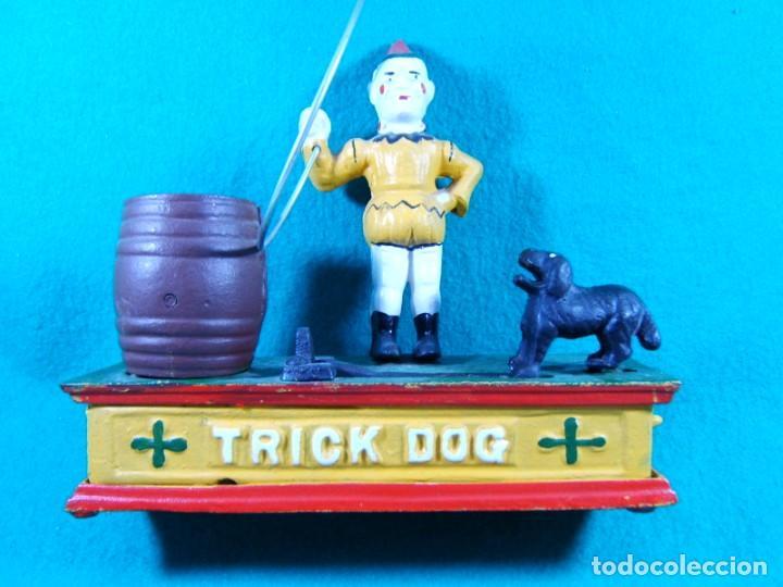 Figuras de acción: TRICK DOG BANK-HUCHA-PAYASO CON ARO, PERRO Y BARRIL-DISPARADOR MANUAL-FUNCIONA PERFECTAMENTE. - Foto 2 - 188592256