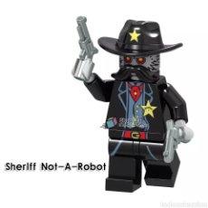 Figuras de acción: MINIFIGURAS PERSONALIZADAS OESTE EL BUENO EL MALO Y EL FEO Y SHERIFF ROBOT. Lote 194863753