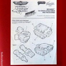 Figuras de acción: ZBOTS MEGABOT - MANUAL DE INSTRUCCIONES - MICRO MACHINES - FAMOSA - 1990 - ORIGINAL. Lote 234293760