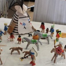 Figurines d'action: POBLADO INDIO ,CLASICO DE PLAYMOBIL GEOBRA 1974, REF 3733 COMPLETO Y AMPLIADO.. Lote 262994570