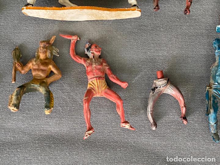Figuras de acción: LOTE DE INDIOS Y VAQUEROS . ANTIGUOS , PLASTICO , PASTA , GOMA - Foto 3 - 278357583