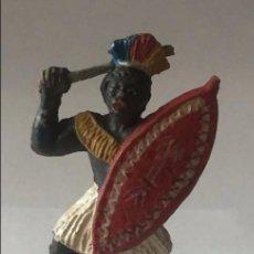 Figuras de Goma y PVC: FIGURA DE GOMA NEGRO GUERRERO DE 6 CMS, FABRICADO POR ARCLA EN 1950S, BUEN ESTADO DE PINTURA.. Lote 92686690