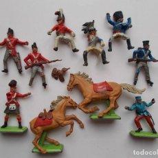 Figuras de Goma y PVC: BRITAINS MADE IN ENGLAND:SOLDADOS NAPOLEONICOS, 2 CABALLOS Y UNA FIGURA DE LA LEGION FRANCESA.PTOY. Lote 95153687