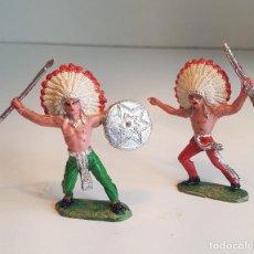 Figuras de Goma y PVC: 2 FIGURAS ANTIGUAS, JEFES INDIOS, COMANSI. Lote 80598978