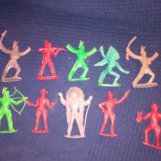 Figuras de Goma y PVC: LOTE 10 FIGURAS INDIOS Y VAQUEROS DE COMANSI PATENTADO. Lote 98651170