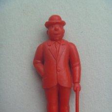 Figuras de Goma y PVC: FIGURA DE DUNKIN DE TINTIN : FERNANDEZ O DUPOND .. DETRAS PONE ESSO. Lote 98810379
