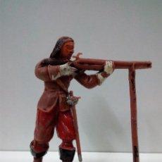 Figuras de Goma y PVC: ARCABUCERO - MOSQUETERO EN POSICION DE DISPARO . REALIZADO POR JECSAN . AÑOS 60. Lote 75378931