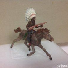 Figuras de Goma y PVC: FIGURA INDIO GOMA JECSAN CON PENACHO - INDIO DE GOMA DE JECSAN AÑOS 50. Lote 88871252