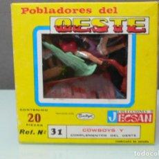Figuras de Goma y PVC: CAJA DE COWBOYS, DE JECSAN, NUEVA A ESTRENAR , AÑOS 70. Lote 91195935
