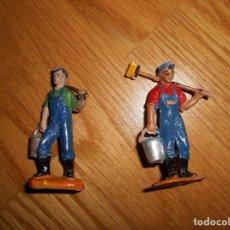 Figuras de Goma y PVC: 2 FIGURAS JECSAN CIRCO OPERARIOS LIMPIEZA FIERAS REALIZADAS EN GOMA Y PLASTICO RARAS !!! AÑOS 50 60. Lote 95559930