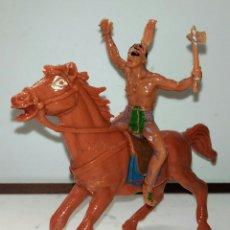 Figuras de Goma y PVC: INDIO A CABALLO CON ACHA JESCAN. Lote 104140023