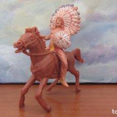 Figuras de Goma y PVC: JECSAN-INDIO CON CABALLO. Lote 108444231