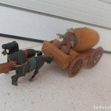 Figuras de Goma y PVC: LAFREDO, CARRETA CON TONEL, CONDUCTOR Y DOS CABALLOS. EN GOMA.. Lote 98481027