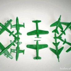 Figuras de Goma y PVC: SERJAN - LOTE DE10 AVIONES - SERJANBOYS - MONTAPLEX - COLOR VERDE. Lote 71559679