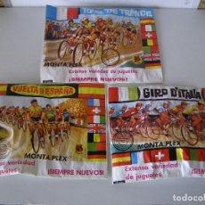 Figuras de Goma y PVC: LOTE DE 3 SOBRES MONTAPLEX: VUELTA A ESPAÑA, GIRO DE ITALIA, TOUR DE FRANCIA, ORIGINAL AÑOS 70. Lote 109084358