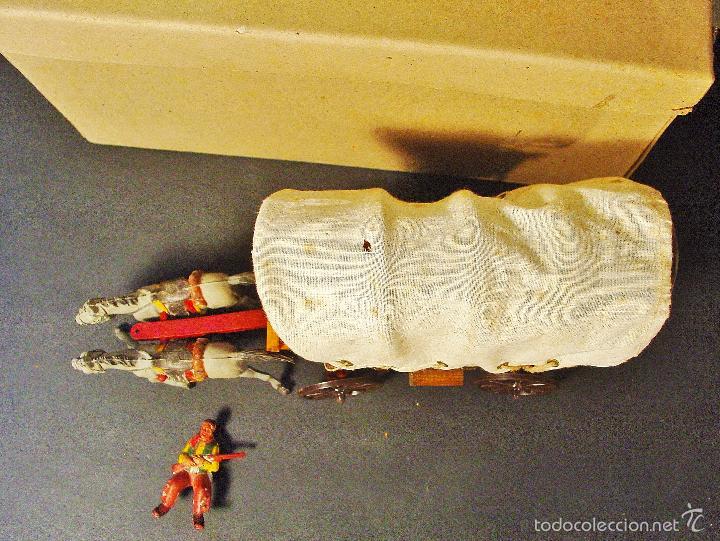 Figuras de Goma y PVC: CARRETA PECH EN MADERA, GOMA Y PLÁSTICO. AÑOS 50. CON SU CAJA. - Foto 12 - 59955927