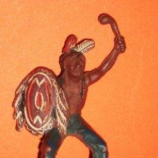 Figuras de Goma y PVC: GUERRERO INDIO OESTE SERIE PEQUEÑA 5,4 CMS, FABRICADO EN GOMA, PECH, ORIGINAL AÑOS 50.. Lote 93628990
