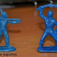 Figuras de Goma y PVC: LOTE DE 2 FIGURAS, UN INDIO Y UN VAQUERO MONOCOLORES. POSIBLEMENTE DE PIPERO.. Lote 54365077