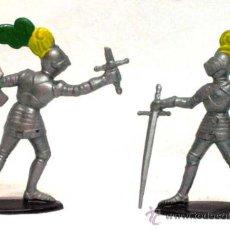 Figuras de Goma y PVC: 2 MEDIEVALES A PIE DE QUIRALU AÑOS 60. Lote 14660933