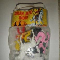 Figuras de Goma y PVC: BLISTER GRAN JEFE INDIO SIN ABRIR AÑOS 80 BOLSA VAQUEROS INDIOS CABALLOS OESTE WESTERN OESTE. Lote 94117670