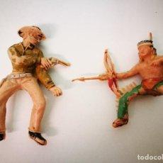 Figuras de Goma y PVC: REAMSA, INDIO Y COWBOY DE PLASTICO. Lote 109096119