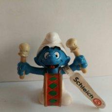 Figuras de Goma y PVC Schleich: FIGURA NUEVA PVC PITUFO BOMBO PEYO HAPPY SMURFDAY MARCA SCHLEIC. Lote 86755007