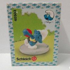 Figuras de Goma y PVC Schleich: PITUFO CON DISCO (EN CAJA) LOS PITUFOS SCHLEICH PEYO SMURFS BARRUFETS SUPER PITUFO. Lote 95390495