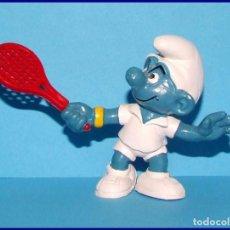 Figuras de Goma y PVC Schleich: PITUFOS ORIGINALES SCHLEICH 20093 PITUFO TENISTA RAQUETA ROJA. Lote 95494527