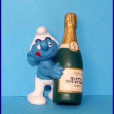 Figuras de Goma y PVC Schleich: PITUFOS SCHLEICH FIGURA 20708 PITUFO CON BOTELLA DE CHAMPAN. Lote 98504663