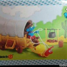 Figuras de Goma y PVC Schleich: CARAVANA WESTERN SCHLEICH LOS PITUFOS PITUFO VAQUERO SCHLEICH CARAVANA CON CARACOL SMURFS. Lote 98538810