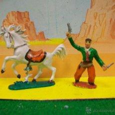 Figuras de Goma y PVC: FIGURA VAQUERO RODEO SOTORRES . CABALLO JEAN -. Lote 53625851