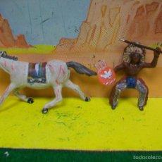 Figuras de Goma y PVC: FIGURA INDIO SOTORRES GOMA AÑOS 50 - INDIO GOMA AÑOS 50 MARIANO SOTORRES CABALLO PECH GOMA. Lote 59533479