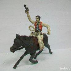 Figuras de Goma y PVC: FIGURA VAQUERO GOMA SOTORRES AÑOS 50 - MARIANO SOTORRES EN GOMA CON CABALLO GOMA PECH HERMANOS . Lote 71223193