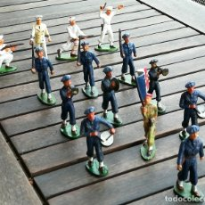 Figuras de Goma y PVC: 14 SOLDADOS FRANCESES, AÑOS 60,STRALUX, 4 DE MARINA,10 BANDA DE MUSICA,BANDERA Y OFICIAL,NO PLOMO . Lote 95243127