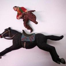 Figuras de Goma y PVC: COWBOY A CABALLO DE GOMA,MARCA TEXIDO. Lote 105834343