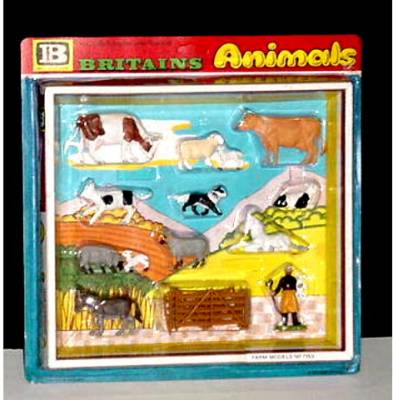ANTIGUO SET CON ANIMALES DE GRANJA DE BRITAINS (Juguetes - Figuras de Goma y Pvc - Britains)