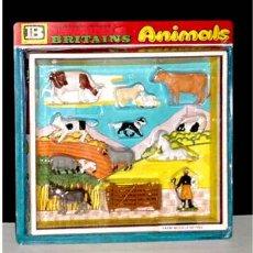 Figuras de Goma y PVC: ANTIGUO SET CON ANIMALES DE GRANJA DE BRITAINS. Lote 19255374