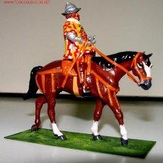 Figuras de Goma y PVC: ANTIGUO SOLDADO DE FUNDICION A CABALLO - GUARDIA REAL FELIPE IV 1634 - MARCA TOYSON Nº 1 - MIDE DE . Lote 27293314