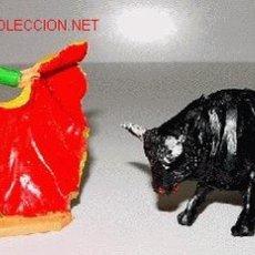 Figuras de Goma y PVC: ANTIGUAS FIGURAS DE PLASTICO DE JECSAN - TORERO Y TORO. Lote 15124639